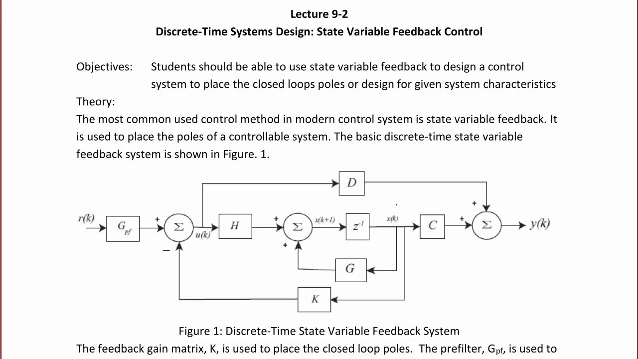 ECE320 Lecture 9-2a: Discrete-Time Systems - State Variable Feedback ...