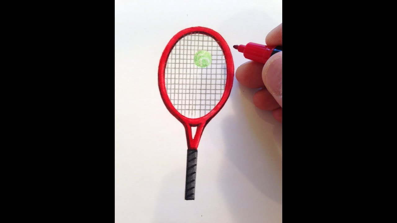 How To Draw A Tennis Racket Youtube