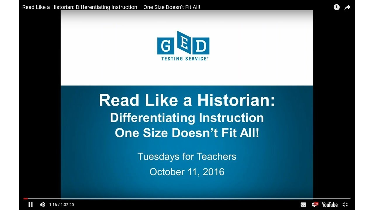Read Like A Historian Differentiating Instruction One Size Doesn