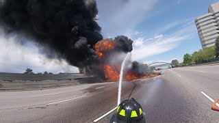 Massive Fuel Tanker Fire on I-25 Near Denver, Complete HD Fire Department Footage thumbnail