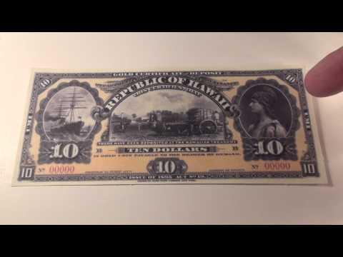 1895 $10 Republic of Hawaii Gold Certificate Note