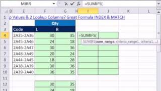 Excel Magic Trick 757.5: Two Lookup Columns Or Sum With Two Criteria?