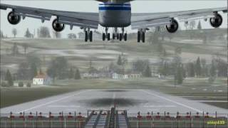 FSX HD 1080p - Extreme TURBULENCES at Stuttgart !!! (EDDS) Landing & Take off