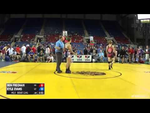 132 Champ. Round 4 - Kyle Evans (Utah) vs. Ben Freeman (Michigan)