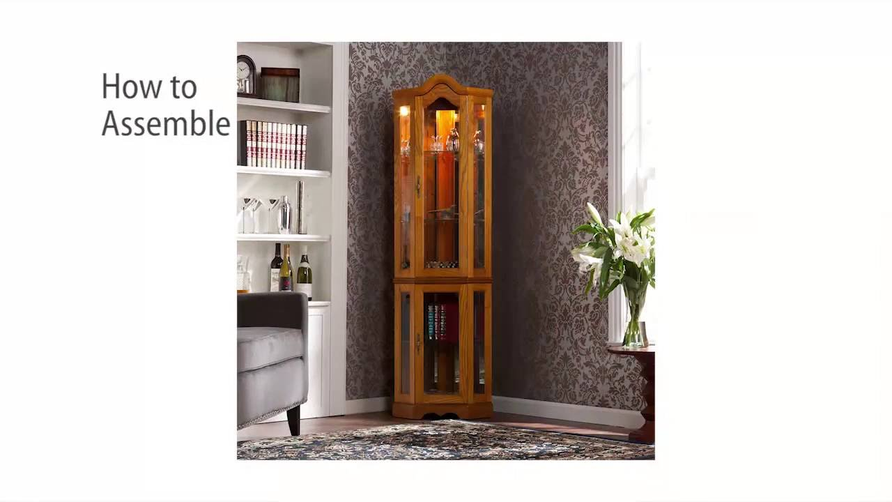 Cm0695 Lighted Corner Curio Cabinet Golden Oak Assembly Video