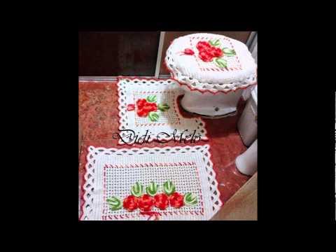 Sets de baño, crochet y tela - YouTube