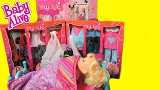 Baby Alive Poops and Pees Doll shopping haul+ My Life as Loft Bed+doll bunk bed+Halloween Costumes