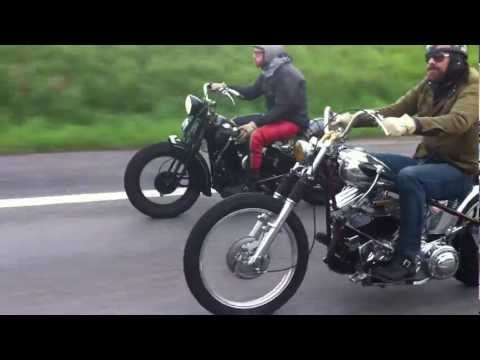 Harley Panhead and Flathead on the road