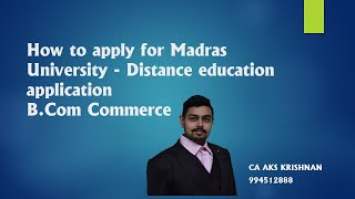 How to apply for madras university| Correspondence Course| Explained in Tamil