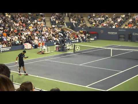 Novak Djokovic vs Carlos Berlocq US Open 2011 - Ace then breaks