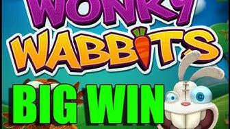 RECORD WIN 15 euro bet no-deposit bonus BIG WIN - Wonky Wabbits HUGE WIN epic reactions