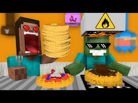 Monster School: WORK AT PANCAKE & WAFFLE PLACE! - Minecraft Animation thumbnail
