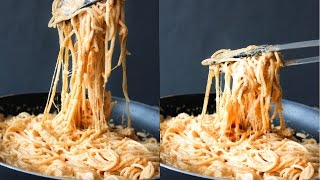 How To Make Cheesy Red Pesto Chicken Alfredo Spaghetti - Easy Meal Monday - By One Kitchen