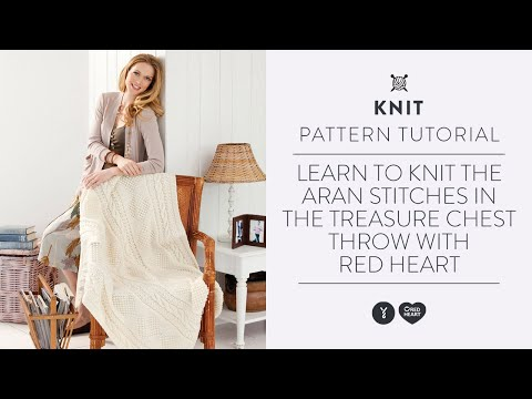 Learn To Knit The Aran Stitches In The Treasure Chest Throw With Red
