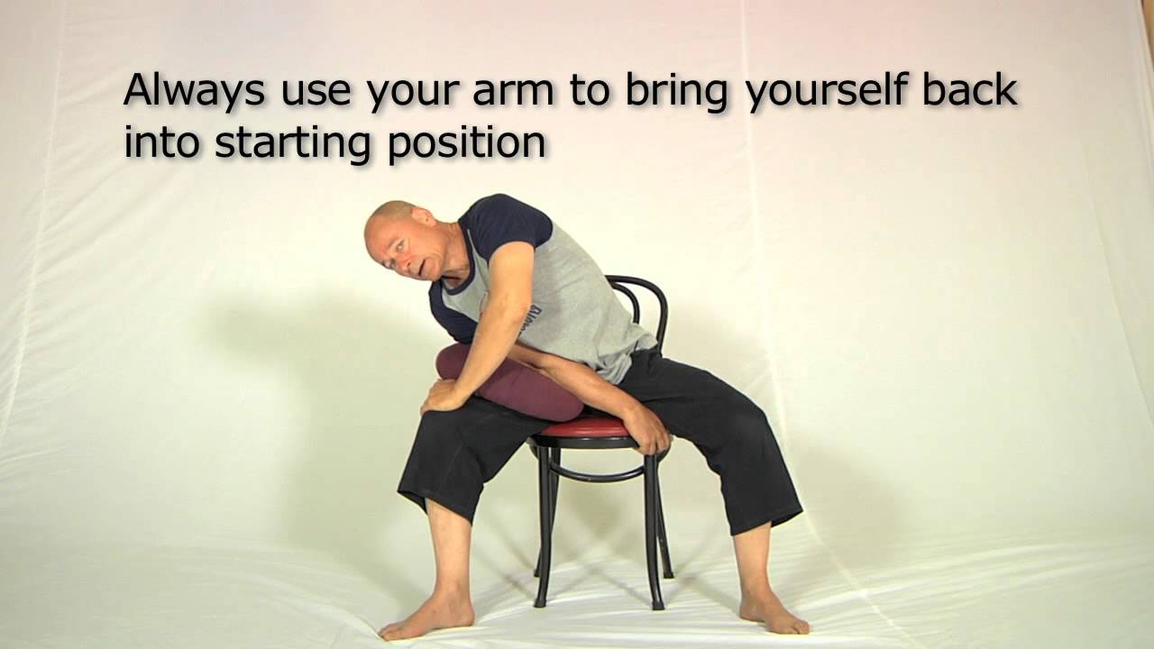 Chair lower back stretch - YouTube