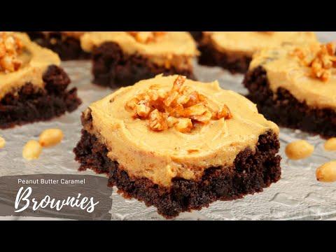Brownies mit Peanut Butter Frosting und Erdnusskaramell