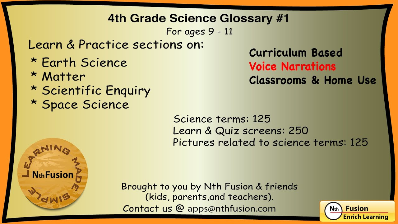 4th Grade Science Glossary 1 Learn And Practice