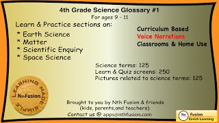 4th Grade Science Glossary #1: Learn and Practice Worksheets for home and classromm