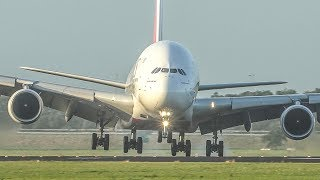 AIRBUS A380 CROSSWIND LANDING on the LEFT GEAR + BOEING 737 Go AROUND and 7 BIG PLANES (4K)