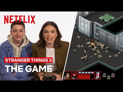 SPOILER ALERT | Cast Try Stranger Thing 3 Video Game for the First Time | Netflix