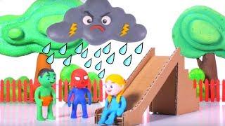 The Rain Destroyed The Cardboard Slide ❤ Cartoons For Kids