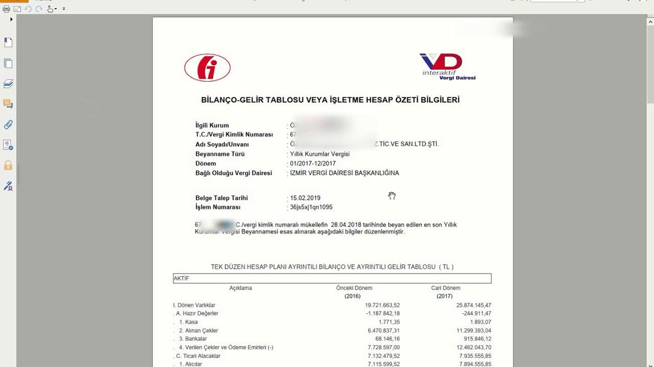 İnteraktif Vergi Dairesi Bilanço/Gelir Tablosu Onay Talebi