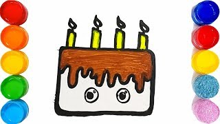 How to Draw Birthday Cake for Kids - Learn Colors with Cake and Candles Coloring Book for Baby