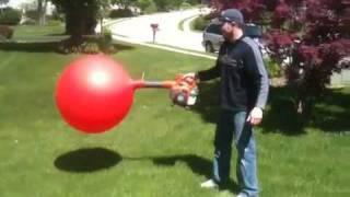 Leaf blower balloon explosion