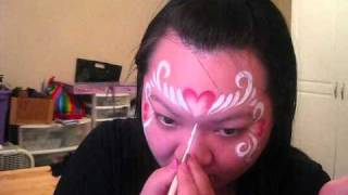 I Wonder How - Red and White Split Heart Face Painting tutorial Thumbnail