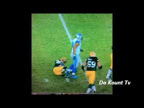 Ndamukong Suh steps on Aaron Rogers ankle