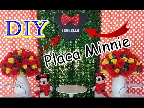 DIY PLACA DE NOME MINNIE - Para painél FESTA INFANTIL