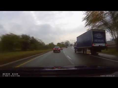 Reckless Driving - Blue Trucks Leaves His Lane - Linden NJ