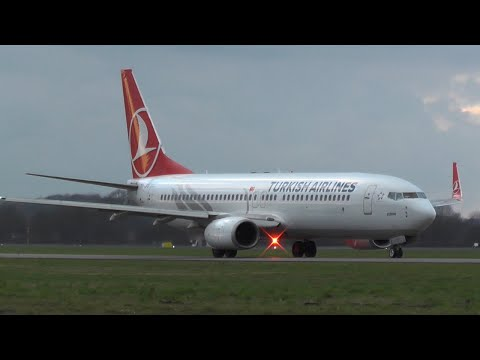 Turkish Airlines Boeing 737-800 taxi and takeoff from EHRD