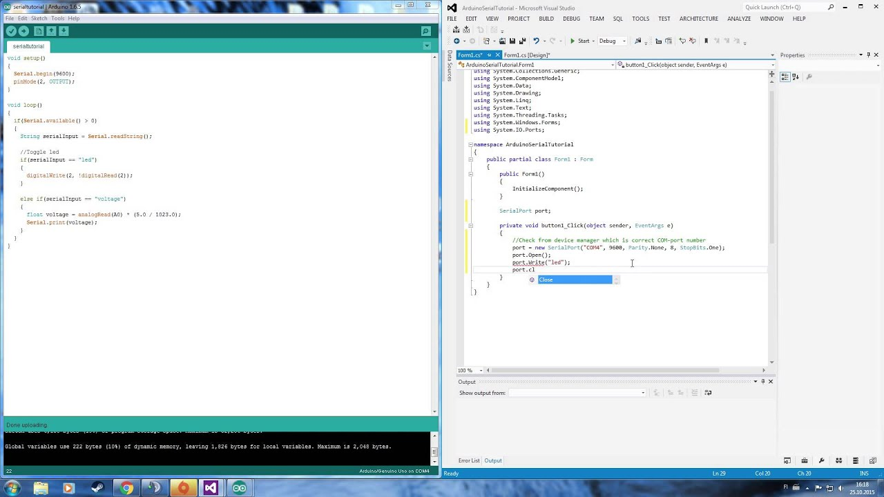 Arduino Serial communication with C# application