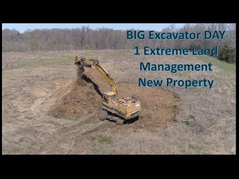 Project 211 BIG excavator DAY 1 Making New Mountain, Pond & Woods crossing 04-20-18