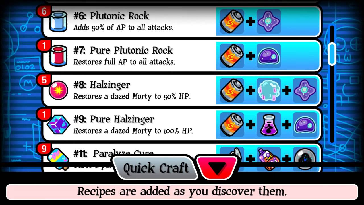 Pocket mortys all 33 or 32 crafting recipes new for Rick and morty craft list