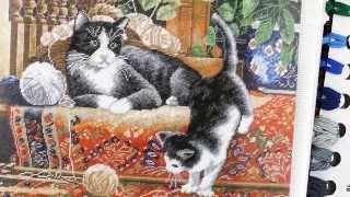 Кошки на ковре - набор для вышивания с цветной символьной схемой. Арт. 467
