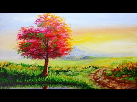 Acrylic Landscape Painting lesson with Autumn tree and Pathway during Sunrise | BASIC ART TUTORIAL