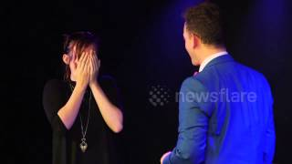 Magician Neil Henry proposes to his girlfriend with alphabetty spaghetti trick