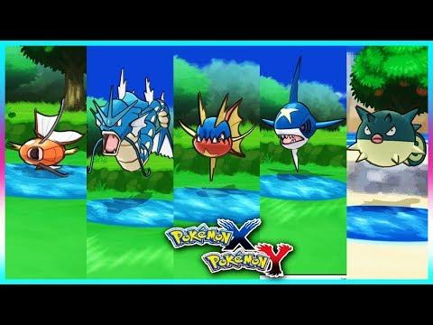 Pokemon X & Y - Magikarp,Gyarados,Carvanha,Sharpedo & Qwilfish Locations