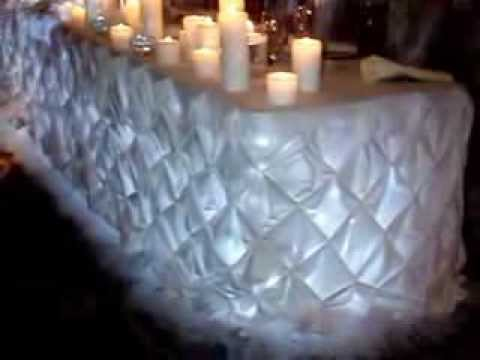 Dais Sweetheart Table Pintuck Linens In White By Sweet 16 Candelabras