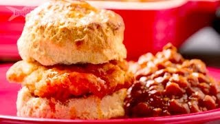Fried Chicken And Biscuits With Baked Beans - Casserole Queens