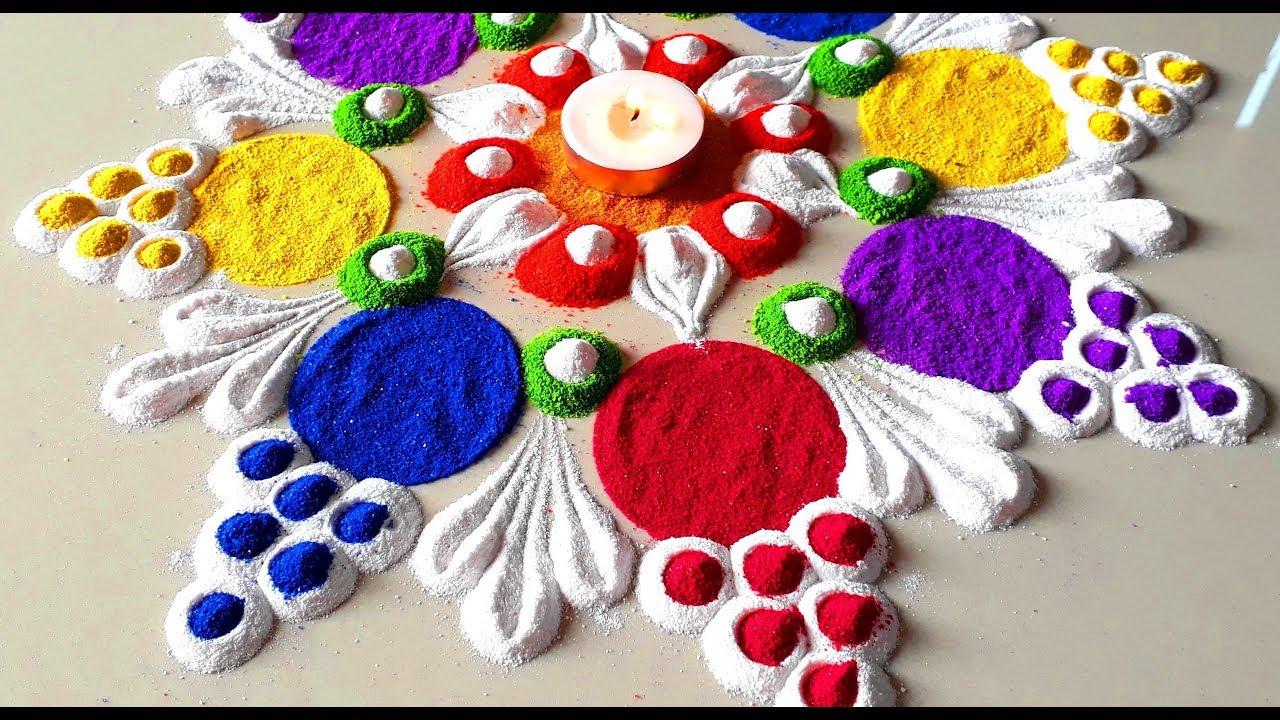 Very Simple and Easy Rangoli Designs For Diwali Festival/दिवाली की सुंदर रंगोली- New Rangoli Part2