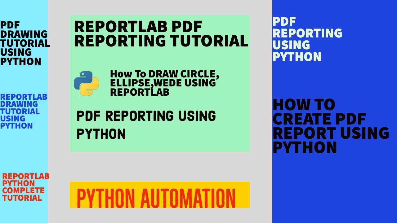 REPORT PDF REPORTING|REPORTLAB DRAWING TUTORIAL|DRAW CIRCLE , ELLIPSE,  WEDGE USING PYTHON|PART:9