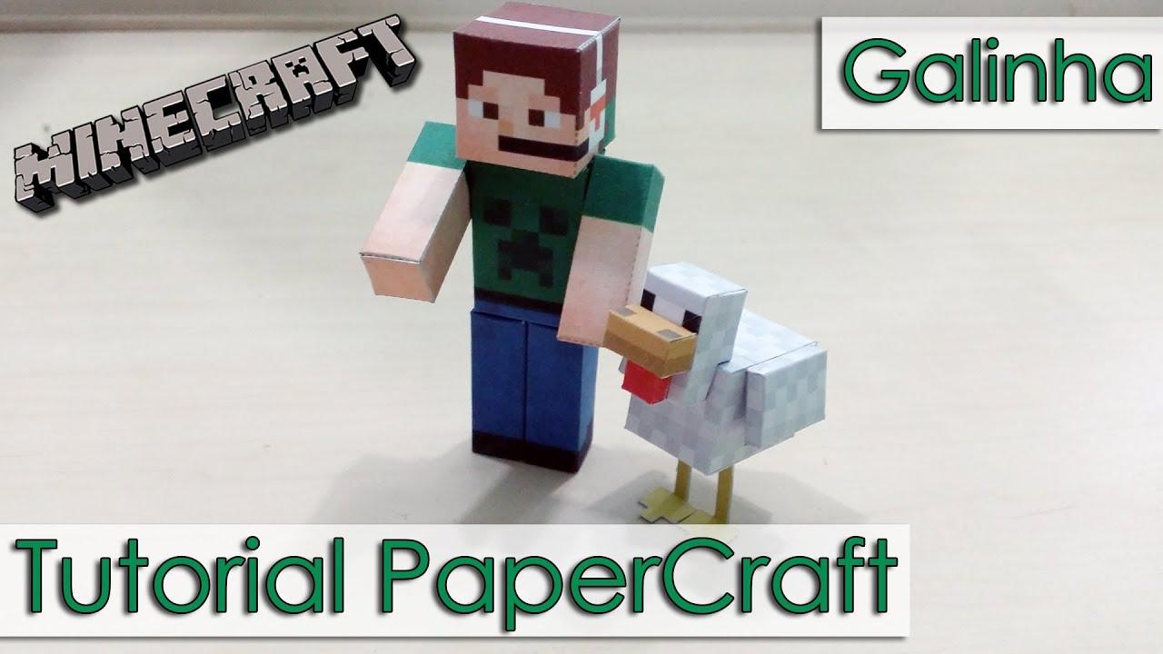 Papercraft Tutorial PaperCraft Minecraft - Galinha / Chicken