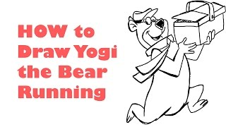 how to draw yogi bear running with a picnic basket
