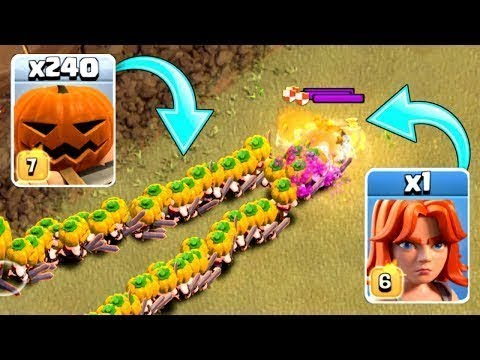 240 Pumpkin Barbarians vs Level 6 Valkyrie   Clash of Clans   Thang COC