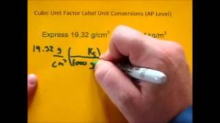 Cubic Unit Factor Label Conversions (g/cm3 to kg/m3)