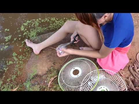 OMG!! Amazing idea smart girl trap fishing style - how to made net fish traditional  in my village