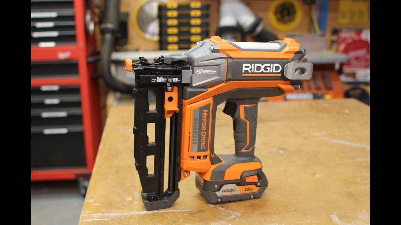 RIDGID HYPERDRIVE 18V Finish Nailer R09892B - YouTube